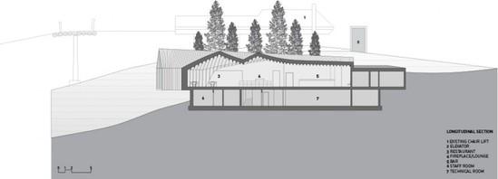 倾斜的屋顶结构参考了该地区典型小屋结构